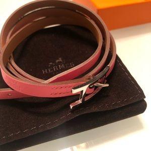 Hermès Behapi Double Tour Braceket, pink.
